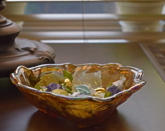 Vintage Carnival glass amber iridescent bowl 3-sided loganberry blackberry leaves candy dish Thanksgiving home decor