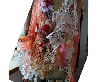 Lovely Feminine Peach/Apricot/Pink Jacket With White Lace Wonderful SUNNY DAY Fairy Antique Details Boho Tattered Gipsy