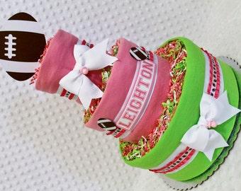 Football Baby Diaper Cake Girls Shower Gift or Centerpiece