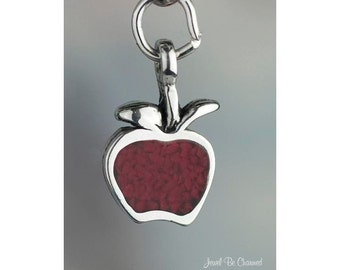 Sterling Silver Red Apple Charm Apples Fruit Teacher Tiny Solid .925