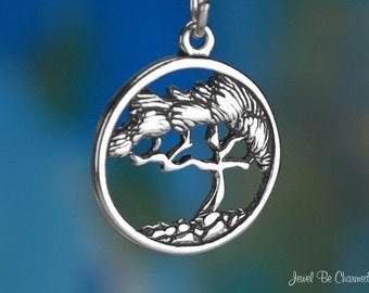 Sterling Silver Cypress Tree Charm Bonsai Design in Circle Solid .925