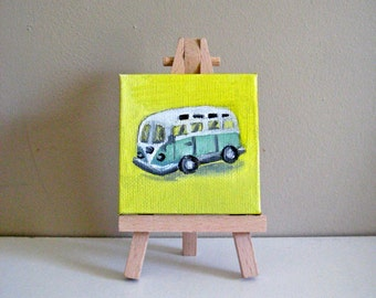 VW Bus Mini Painting - Retro Art, Vintage Style Art, Retro Painting, Original Painting, Mini Painting, Volkswagon Bus, Retro Car