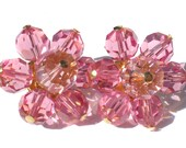Bright Pink Glass Cluster Clip On Earrings with Gold Tone Metal Signed Austria - Vintage Jewelry