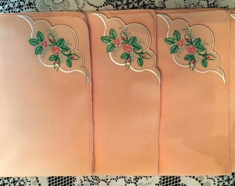 Napkins Rosebud Peach Set of 4