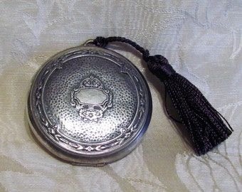 1920's Djer Kiss Compact Vintage Victorian Silverplated Powder Compact
