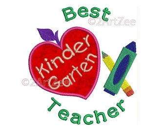 Kindergarten  Teacher Best Teacher Machine Embroidery Applique Design Apple Crayon Pencil Heart
