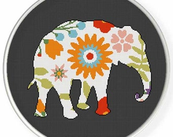 Instant Download,Free shipping,Counted Cross stitch pattern,Cross-Stitch PDF,flower elephant ,zxxc0949