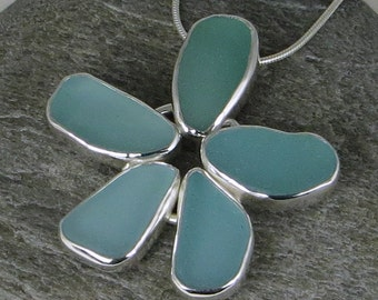 Aqua Sea Glass Bezel Flower Pendant Necklace