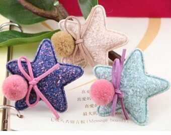 6 pcs x Cute Five Point Stars with Suede Ribbon Bow and Pom Pom Applique,Hair Bow Supplies, Hair clips embellishment, 3 color choices