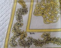 Vintage EMILIO PUCCI Scarf Cotton Yellow Graphic Design Italy