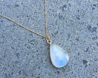 Large moonstone pendant on gold vermeil chain