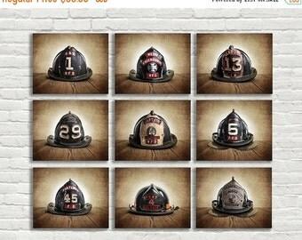 FLASH SALE til MIDNIGHT On Sale Vintage Fireman Helmets, Set of Nine Photo prints, Nursery Decor, Rustic Decor, Boys Room Decor,
