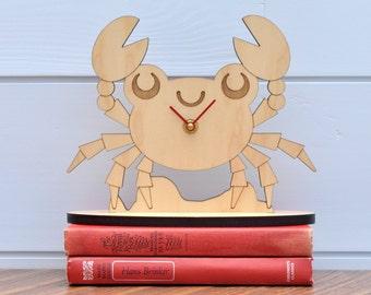 Wooden Crab Shelf Clock Ocean Theme Baby Nursery Kids Office Room Decor