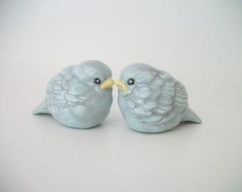 Bluebird Lovebirds Wedding Cake Topper, Wedding Gift, Anniversary Gift, Home and Garden Decor, Ceramic Love Birds