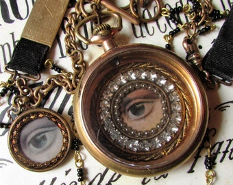 Victorian mourning necklace lovers eye antique pocket watch fob and chain ribbon one of a kind jewelry assemblage goth gothic black beads