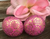 Drawer Pulls, Drawer Knobs, Pink/Gold Shabby Chic Knobs - Set of 2