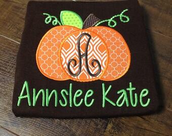 Personalized Shirt, Pumpkin Applique Shirt - Embroidered Shirt, Pumpkin, Fall Shirt, Girls, Boys, Children's Clothing, kids shirt