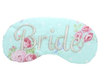 Floral Cottage Bride Sleep Mask Bridal Shower Gift Aqua Rose and Silver Eye Mask Lingerie Shower Gift Bachelorette