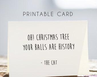 cat funny christmas card, printable cat card, digital cat card, digital christmas card, funny cat card, cat christmas card