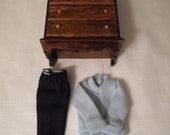DOLLHOUSE DRESSER & CLOTHES / Furniture / Bedroom / Clothing / Ken / Barbie / Dolls / Play Scale Toys / Miniatures / Diorama / Shadowbox Lot