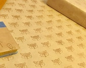 Fox gift wrap, hand stamped kraft paper for wrapping gifts, rustic wrapping paper