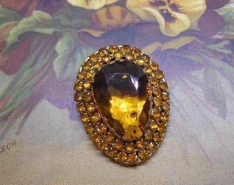 1920s Czech Dress Clip Large Amber Center Stone