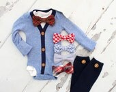 Baby Boy Outfit Set of up to 3 Items. Cardigan Bodysuit, Bow Tie Bodysuit. 1st Birthday Outfit, Tie Onesie Outfit, Baby Shower Gift