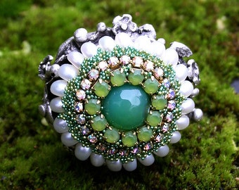 Boho Mossy Green Round Multi Faceted Agate Bead Corn Pearls Jeweled Rhinestones Crystals Large Cocktail Statement Ring Silver Gift for Her