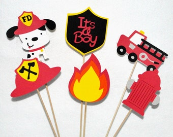 6 Fireman Baby Shower Centerpiece Sticks Fire dog Firetruck Helmet Hydrant Flame Table Decoration Cake Topper Up to 3 sets for SAME SHIPPING