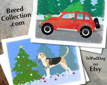English Foxhound Dog Christmas Cards from the Breed Collection - Digital Download  Printable
