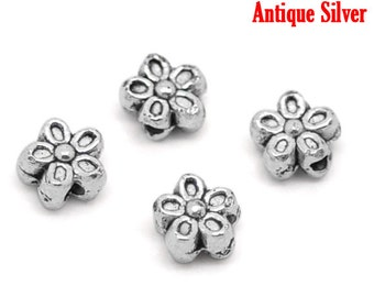 50 pcs. Antique Silver Flower Side by Side Spacer Beads - 7mm