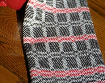 Chef Towel, Hand Woven Towel, Black, Red and White, Twill Blocks Towel, Tea Towel, Gourmet Towel, Hand Towel, Swedish Towel, Woven Towel