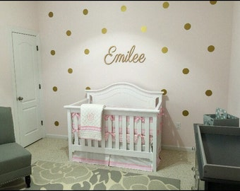 Baby Girl Nursery Gold Nursery   Gold Polka Dots Decals Wall Polka Dots