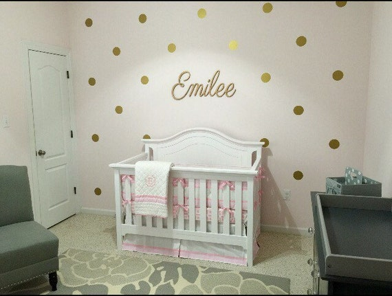 Amelia S Room Toddler Bedroom: Baby Girl Nursery-Gold Nursery Gold Polka Dots Decals-wall