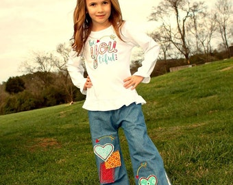 Girls Valentines Day Outfit, Girls Applique Shirt, Girls Ruffle Tee, BE YOU TIFUL, Girls Wide Leg Pants, Girls Patch Work Pants, Girls Pants