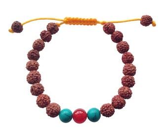 Rudraksha Tibetan Wrist Mala/Yoga Bracelet with Carnelian and Turquoise