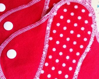 Sweet Red Polka Dot--8 inch---Comfy Cloth Sanitary Pad--Panty Liner--Feminine Pad--BUY 3 get 1 FREE
