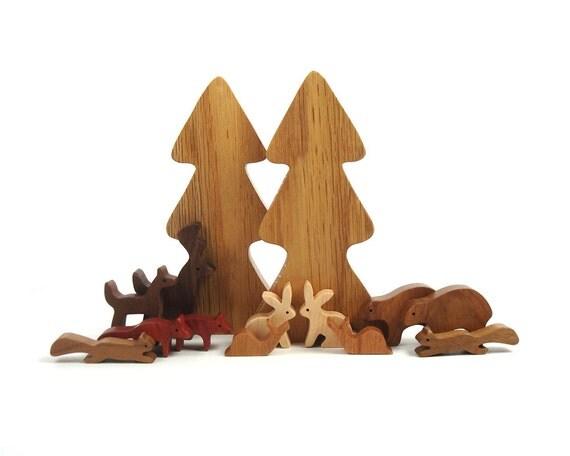 14 Piece Wooden Woodland Play Set Waldorf Miniature Forest Animals Tiny Wood Animals