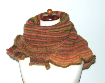 big cozy shawl, striped brown green pink, handknit wrap with mohair, blanket scarf with ruffle, oversize scarf