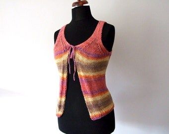knitted top, colorful summer vest, pink, violet, yellow, orange, brown, cotton and acrylic, size S/M