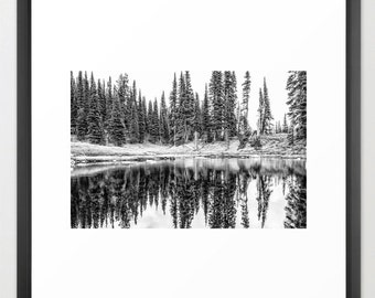 Alpine Lake Reflection, Black and White, Fine Art Photography, fPOE, (6 Sizes)