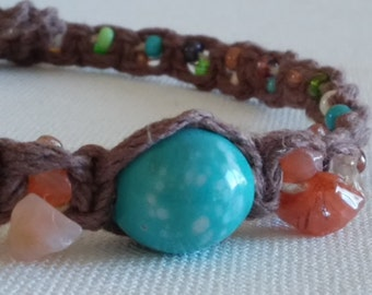 hemp necklace/hemp choker/choker/macrame/beaded necklace
