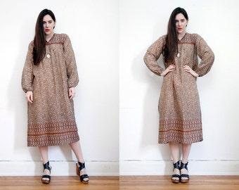 Vintage Indian Cotton Boho Dress Hippie Dress Ethnic Floral Cotton Dress 70s