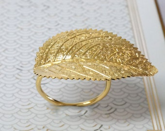 Gold Ring,Gold Leaf Ring ,Woodland Gold leaf Ring ,Gold Cocktail Ring ,Gold Statement Ring,Unique Ring,Gift For Women,For her