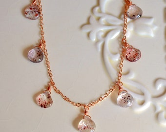 Gemstone Necklace, Rose Gold, Lepidocrocite Jewelry, Lepidocrosite, Elegant, Wire Wrapped, Free Shipping