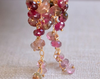 Watermelon Tourmaline Earrings, Gold Cluster Earrings, Waterfall, Real Gemstone, Pink and Green, Spring Jewelry, Free Shipping