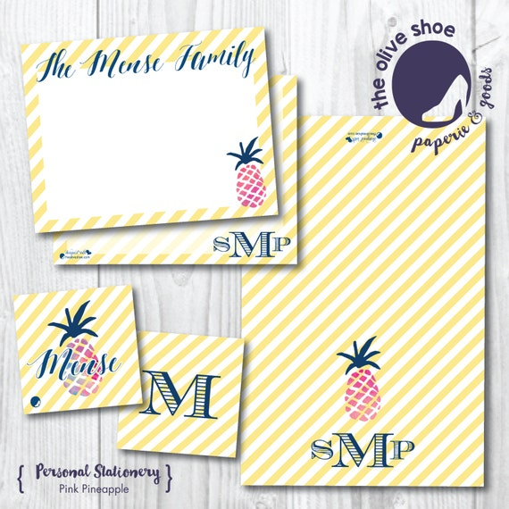 Pink Pineapple Stationery Suite | Thank You Note | Note Card | Enclosure Card | Monogram | Watercolor | Stripe | Personalized | Custom