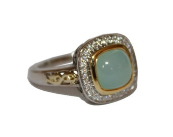Vintage Charles Krypell Ring Lime Onyx Diamond 14kt Gold Sterling Silver - Seafoam Green Ring Scrollwork vinage retro ring