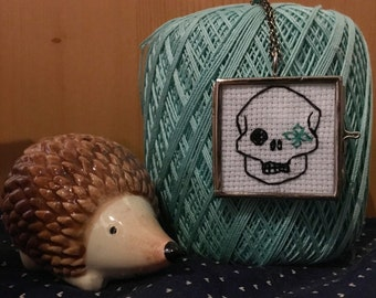 Skull and flower Cross Stitched Glass Locket Necklace