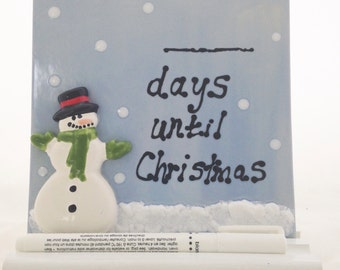 Christmas Countdown Dry Erase Ceramic Tile - with Optional Wood Base and Marker